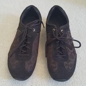 Coach Brown Monogram Sneakers Sz 7.5 GUC
